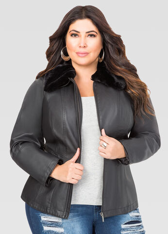 Sherpa Collar Faux Leather Jacket