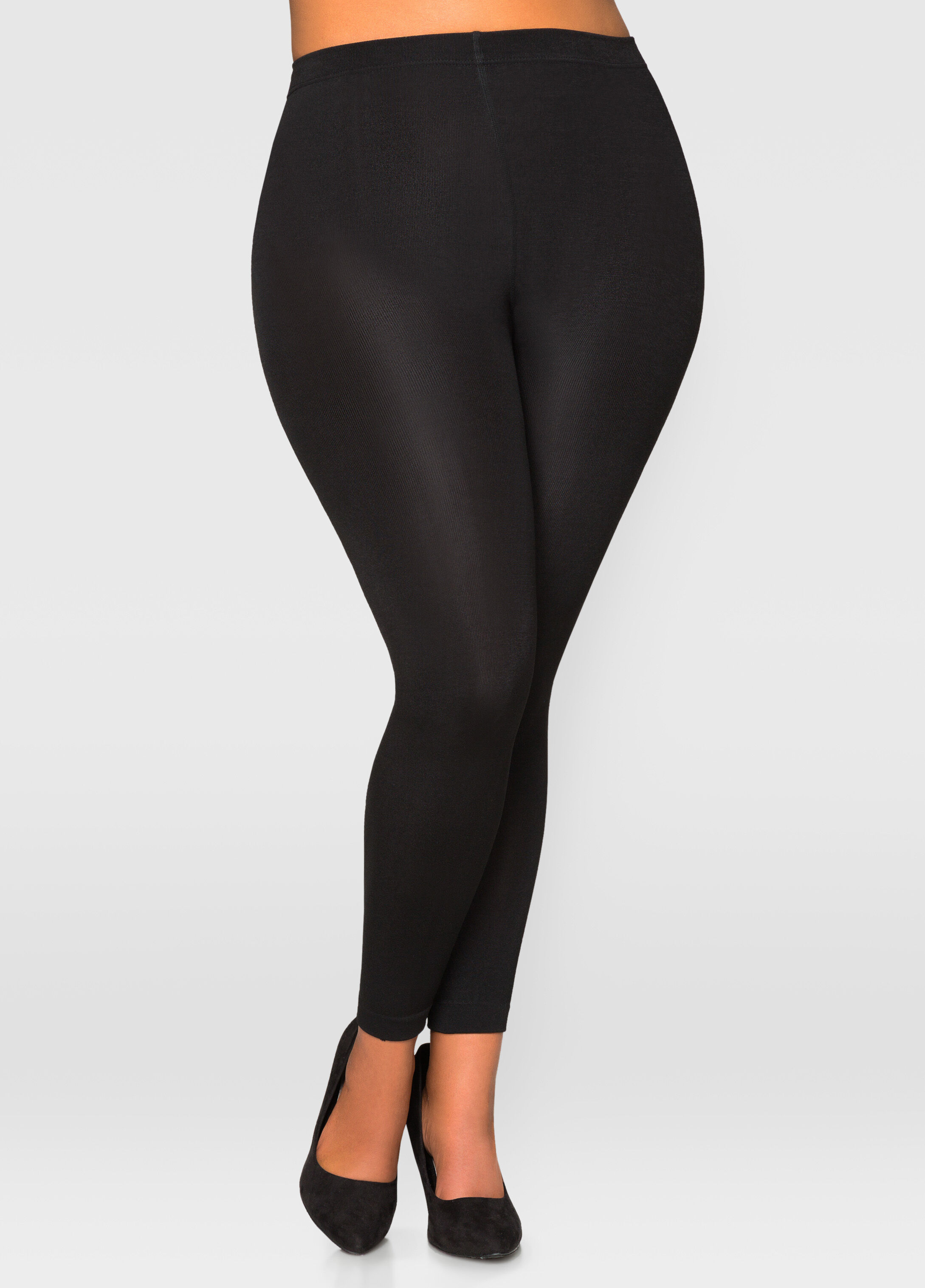 Footless Fleece Lined Tights-Plus Size Tights-Ashley Stewart