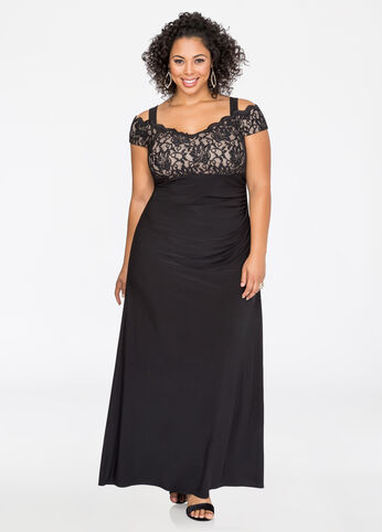 Off-Shoulder Lace Bodice Gown