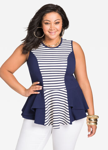 Stripe Panel Tiered Peplum Top Medieval Blue - Tops