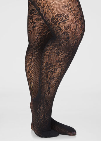 Lace Front Panel Sheet Mesh Tights