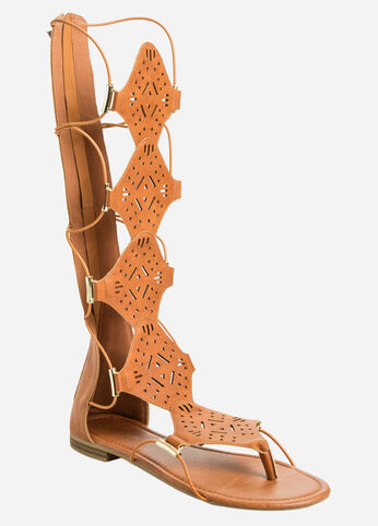 Cut-Out Gladiator Sandal - Wide Calf, Wide Width Cognac - Clearance