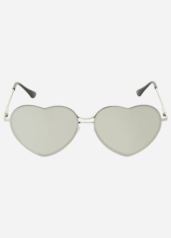 Reflective Heart Shaped Sunglasses