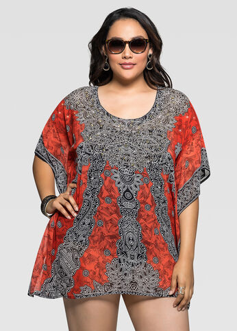 Sheer Mixed Print Cover-Up