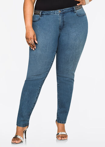 Jewel Accent Skinny Jean Medium Blue - Clearance