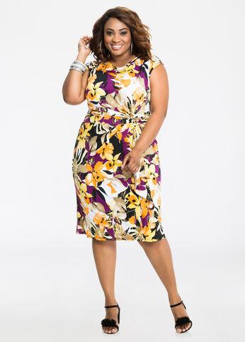 Cap Sleeve Sarong Style Dress