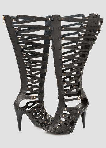 Caged Tall Gladiator Sandal - Wide Calf, Wide Width Black - Shoes