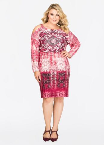 Printed Buckle Shoulder Blouson Dress