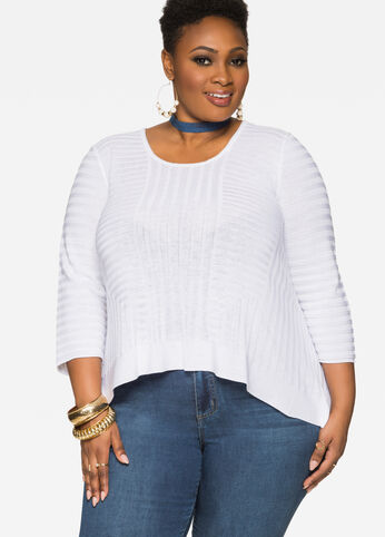 Lightweight Ribbed Hi-Lo Sweater
