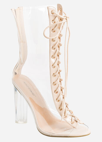 Lace-Up Clear Heel Booties - Wide Width