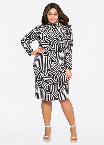 Textured Mock Neck Bodycon Dress