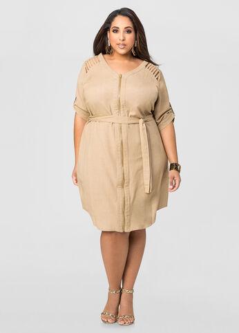 Caged Shoulder Linen Dress