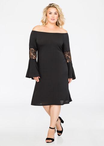 Lace Inset Off-Shoulder Dress