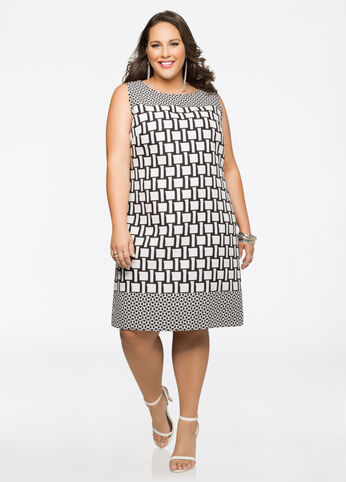 Geo Jacquard Sheath Dress