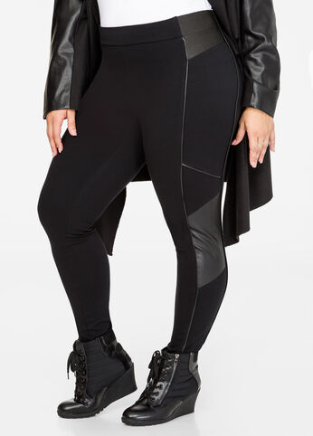 Faux Leather Side Ponte Legging