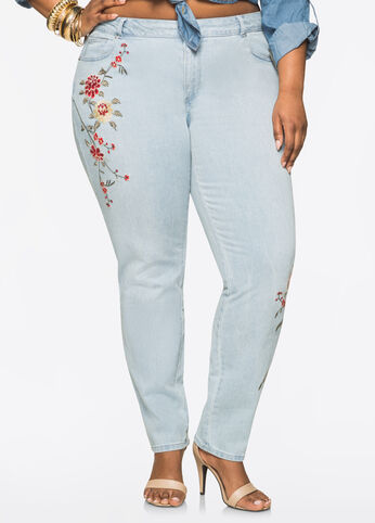 Floral Embroidered Skinny Jean Light Pastel Blue - Clearance