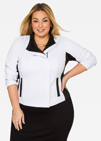 Colorblock Ponte Moto Jacket Black White - Clearance