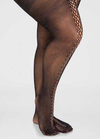 Illusion Lace-Up Footed Tights