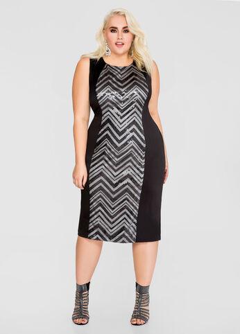 Chevron Sequin Bodycon Sheath Dress