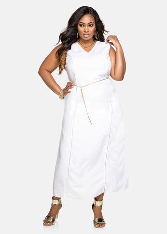 Chain Belt Linen Maxi Dress White - Dresses