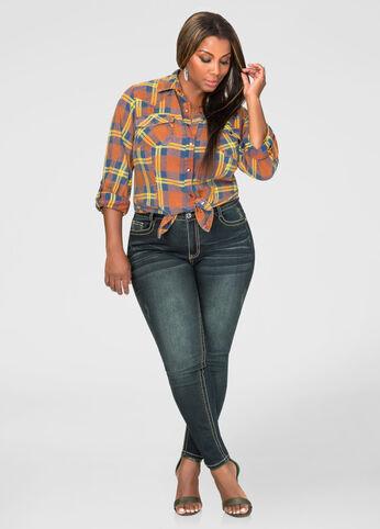 Embroidered Back Pocket Skinny Jean