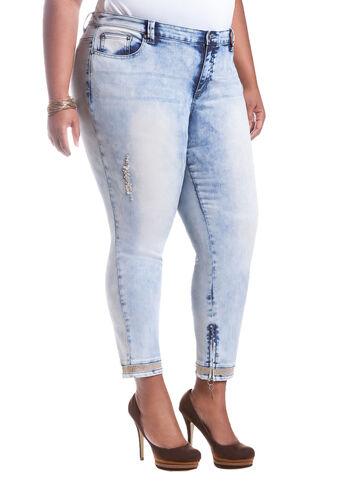 Rhinestone Cuff Skinny Jean