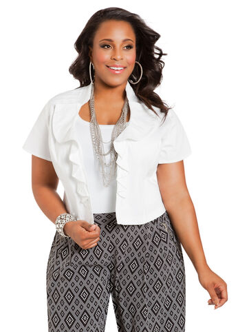 Short Sleeve Ruffled Cropped Jacket