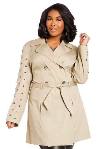 Studded Sleeve Trench Coat