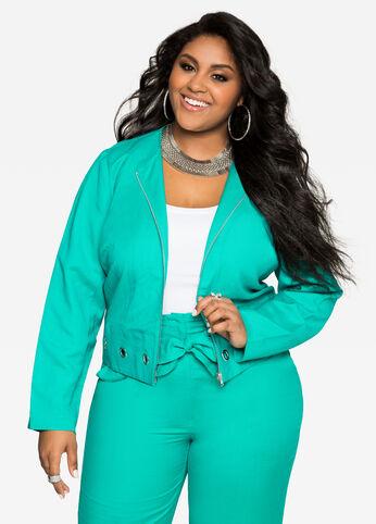 Grommet Linen Jacket Viridian Green - Clearance