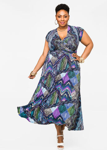 Watercolor Print Surplice Maxi Dress
