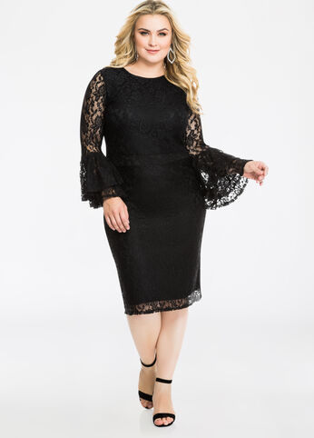 Tiered Bell Sleeve Lace Overlay Dress Black - Dresses