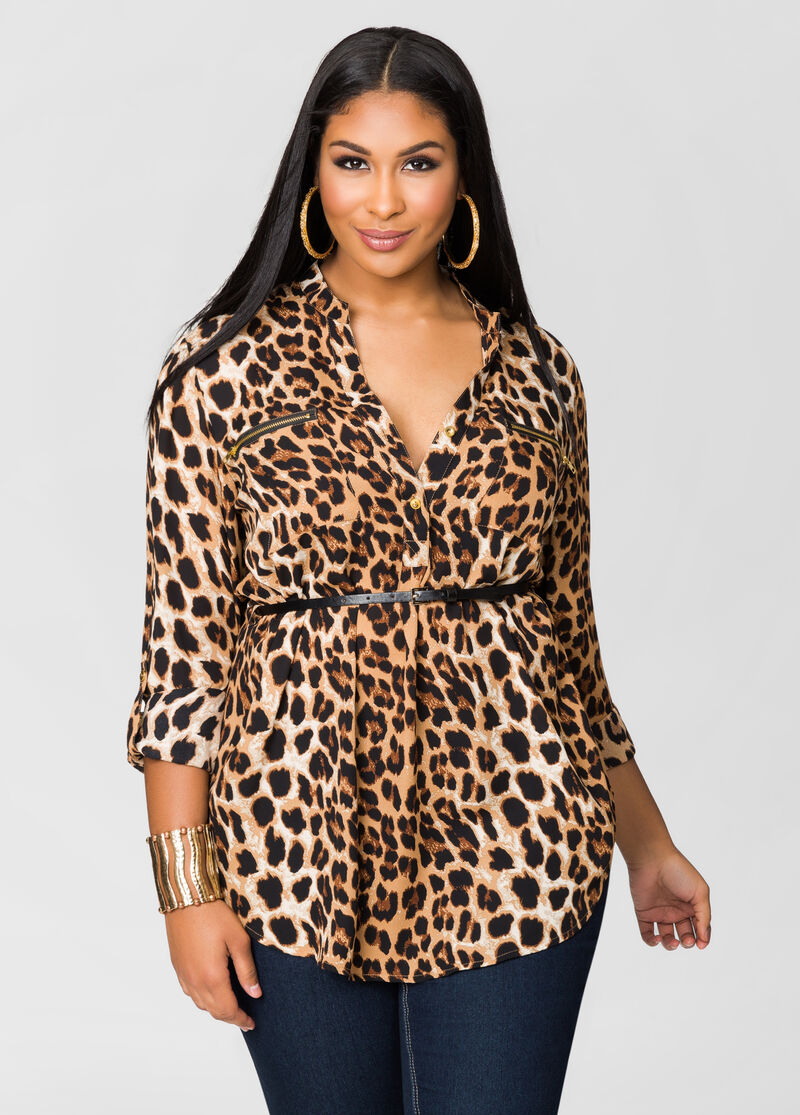 Leopard Print Belted Tunic-Plus Size Dresses-Ashley Stewart
