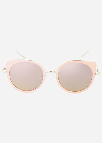 Mirrored Lens Pink Cat Eye Sunglasses