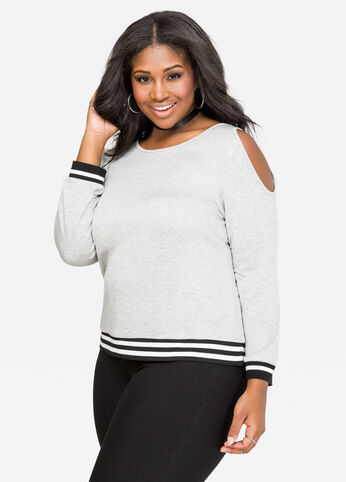 Cold Shoulder Athletic Stripe Top
