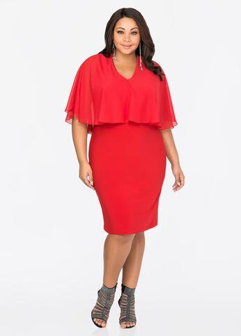 Chiffon Cape Sheath Dress