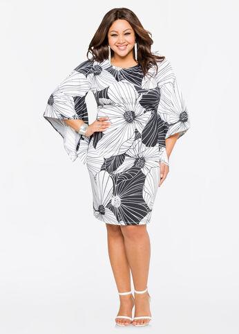Floral Flare Sleeve Dress