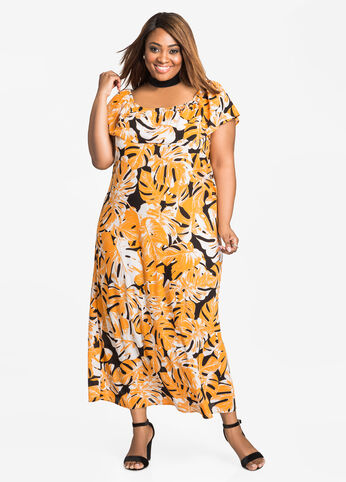 Palm Print Off-Shoulder Maxi Orange Ochre - Dresses