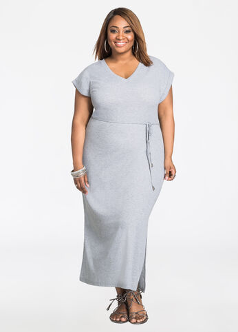 Solid V-Neck T-Shirt Maxi Dress