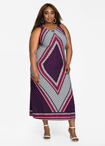 Diamond Print Bar Neck Maxi Dress