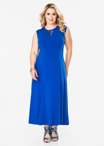 Lace Inset Maxi Dress Victoria Blue - Dresses
