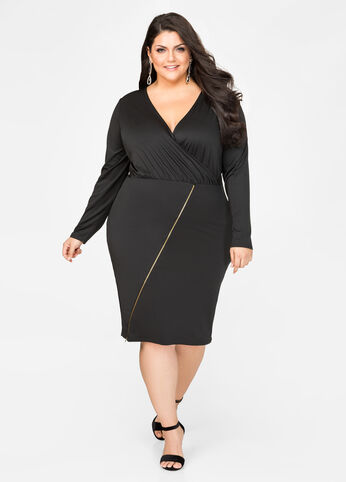 Surplice Exposed Zip Dress