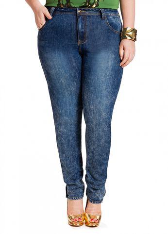 Zipper Leg Splatter Wash Jeans