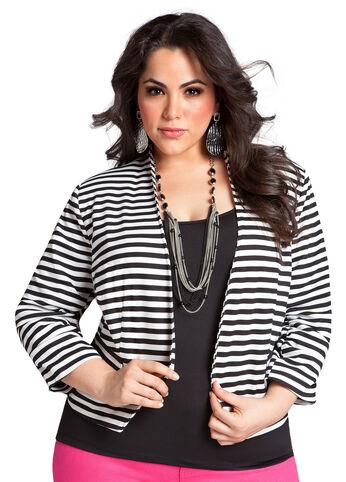 Striped Ponte Knit Jacket