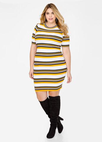 Athletic Stripe Sweater Dress