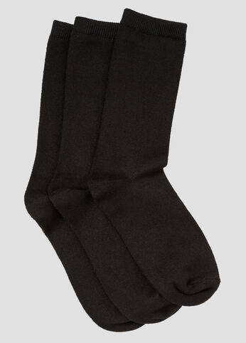 3 pack Solid Crew Neck Socks