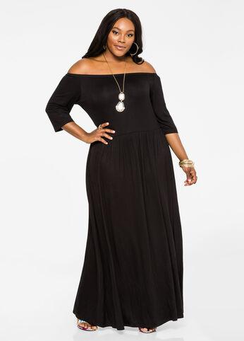 Elbow Sleeve Ballerina Maxi Dress Black - Dresses