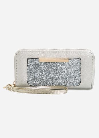 Sequin Pocket Wallet Silver - Accessories