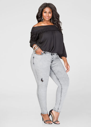 Grey Destructed Skinny Jean