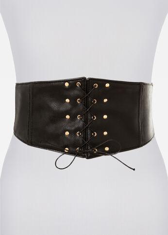 Lace-Up Corset Belt Black - Clearance