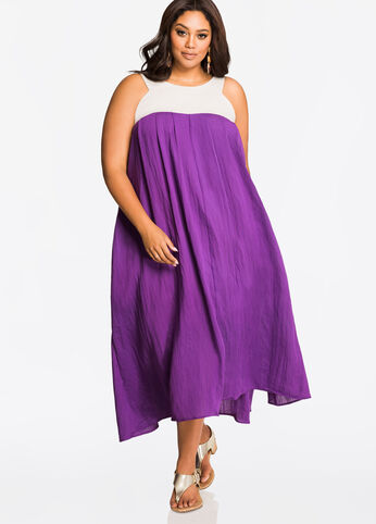 Linen Yoke Tie Back Maxi Dress